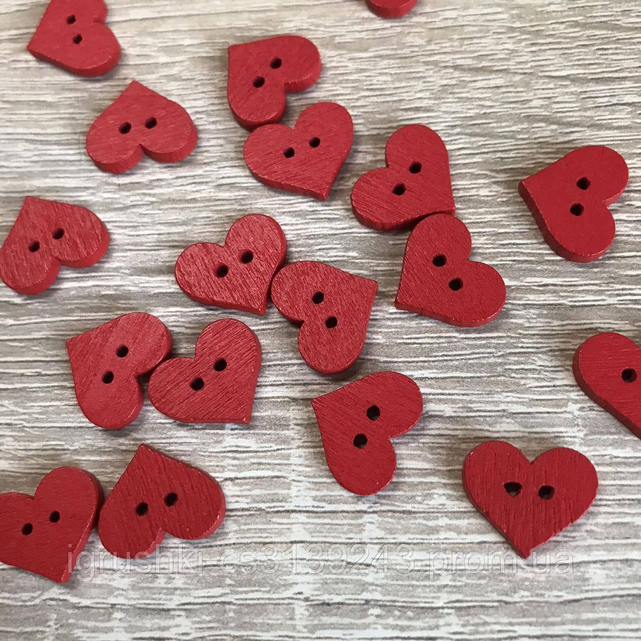 Деревянная декоративная пришивная пуговка, сердечки 15*12 мм