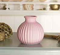 Декоративная ваза керамика розовый полоска h11см  1019743-3Р