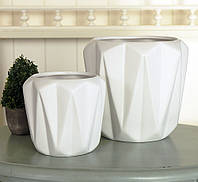 Набор 2-х горшков Диони белая керамика h13-17см  1019748-1Б