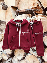 Тёплый детский спортивный костюм для девочки бордо 4-5 лет