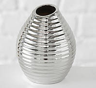 Ваза Celly керамика рельефная h13см серебристая  4267200-2 полоска