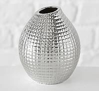 Ваза Celly керамика рельефная h13см серебристая  4267200-3 клетка