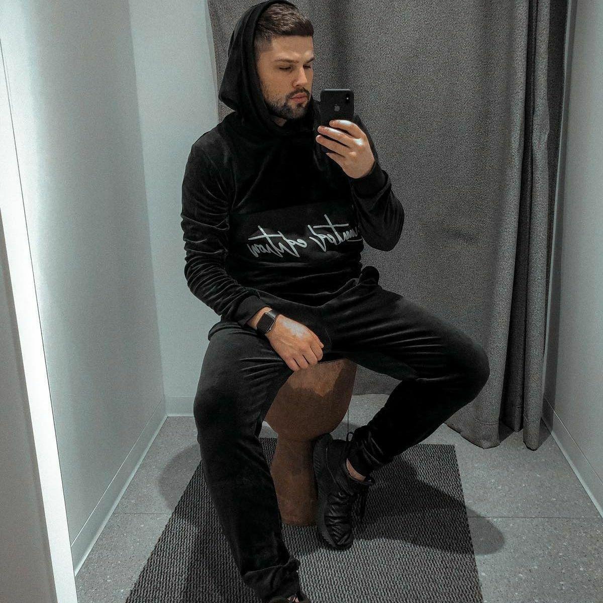 😜 Спортивний костюм Чоловічий спортивний костюм чорний на флісі