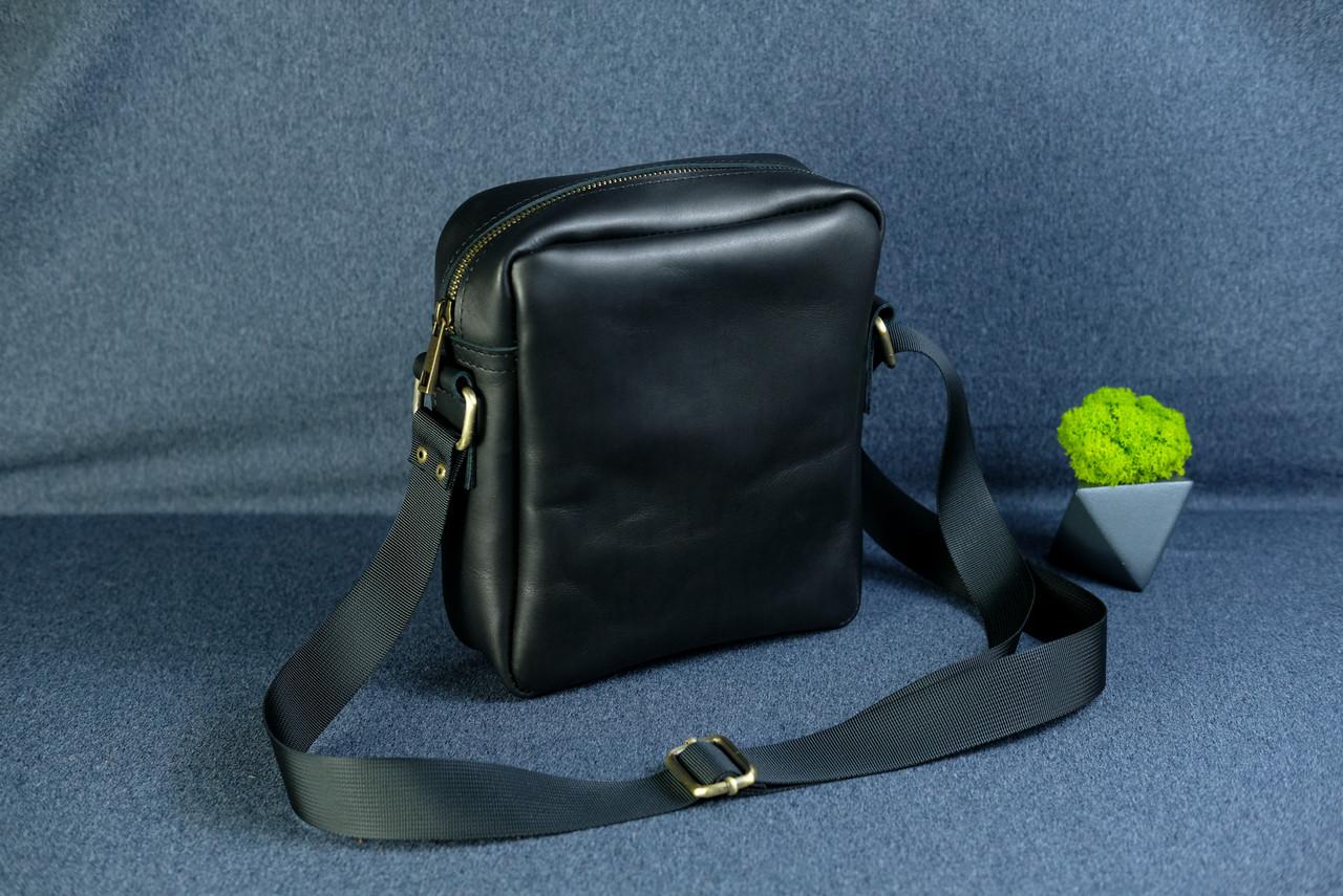 """Мужская сумка """"Модель №38"""" Кожа Итальянский краст цвет Черный"""