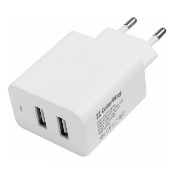 Мережевий зарядний пристрій ColorWay 2 USB AUTO ID 4.8A (20W) White (CW-CHS016-WT)