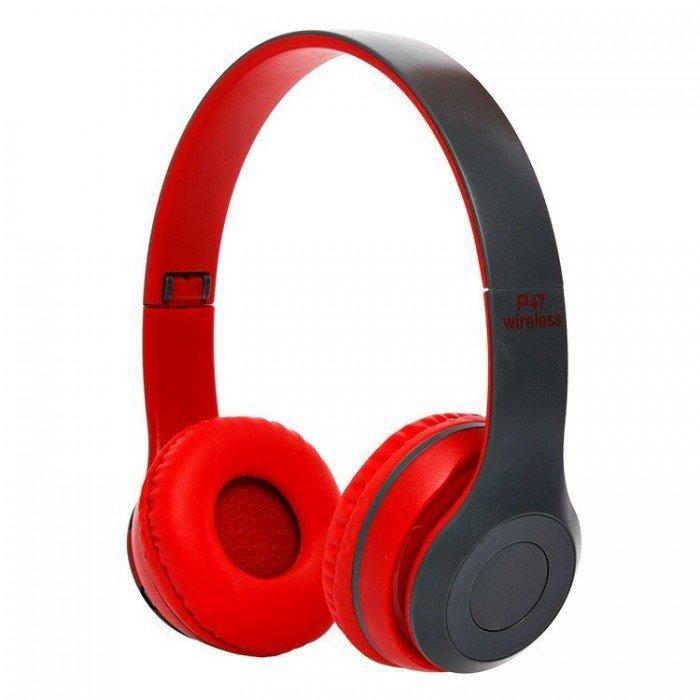 Беспроводные Наушники P-47 Bluetooth + MicroSD + FM Радио Red  (RZ007)