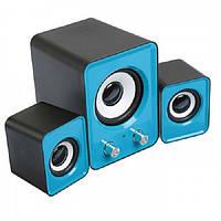 Колонки SPEAKER FT-202 для ноутбука и компьютера акустика 2.1 с сабвуфером Синие  (RZ009), фото 1