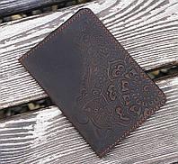 Обкладинка для паспорта Квітка коричневий 9.5*13.5 см 01-11К