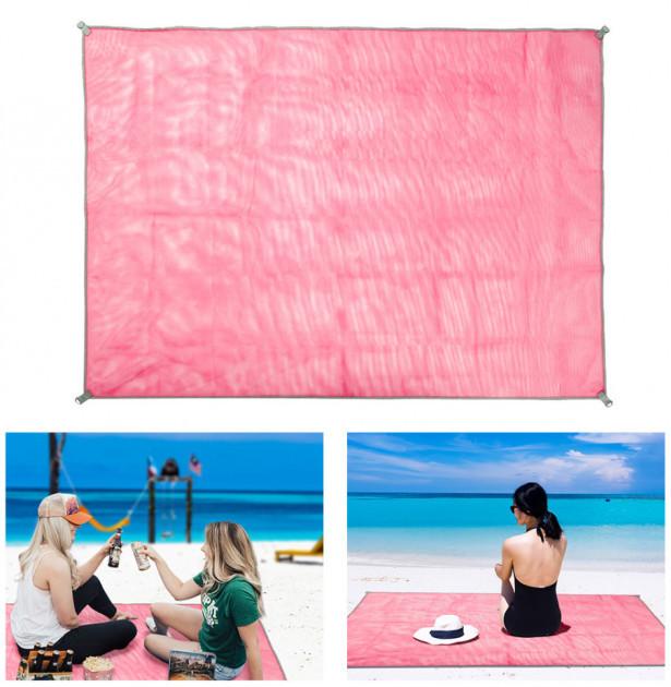 Подстилка покрывало антипесок 2x2 метра пляжный коврик розовый  (RZ250)