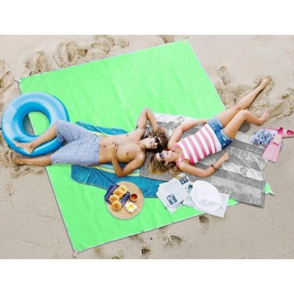 Подстилка покрывало антипесок 2x2 метра пляжный коврик зеленый  (RZ251)