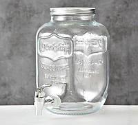 Лимонадница банка с краником для напитков 4 литра стекло h26см  1001927, фото 1