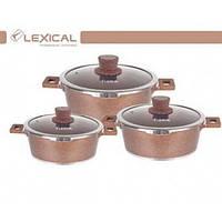 Набор кастрюль с крышками с мраморным антипригарным покрытием Lexical LM-220601-5 Golden 6 предметов  (RZ521)