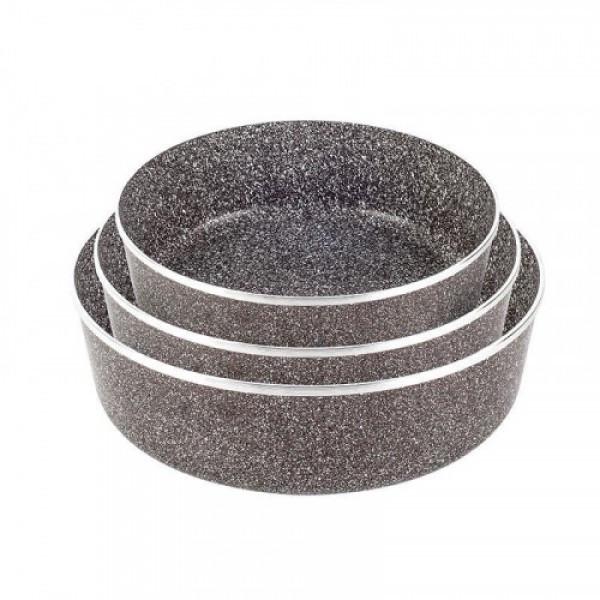 Набор противней LEXICAL LG-640301-2 антипригарное гранитное покрытие, три противня 22/26/30 см Choco  (RZ529)