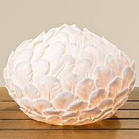 Лампа ночник Перо белая полистоун d28см  1003894