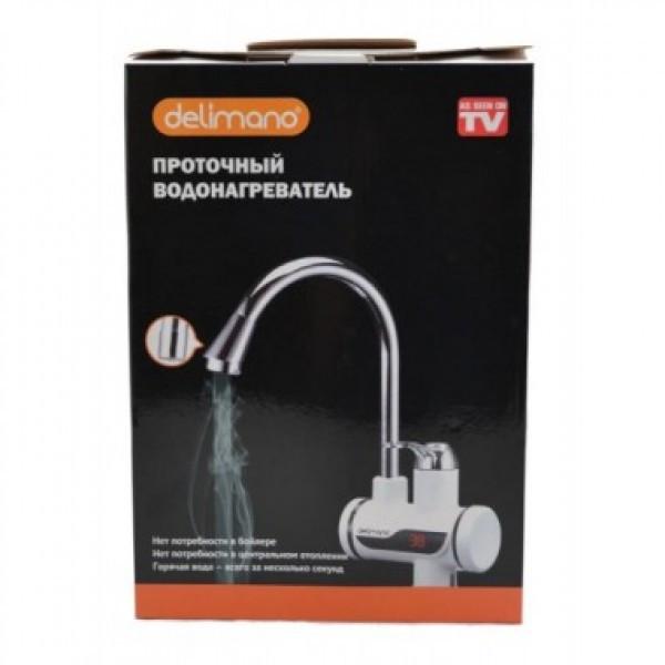 Проточный кран-водонагреватель Delimano для умывальника или кухни c LCD экраном с боковым подключением