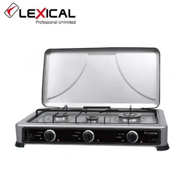 Газовая плита таганок LEXICAL LGS-2813-8 настольная на 3 конфорки Silver  (RZ753)