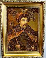 Картина из янтаря Портрет Б.Хмельницкий сложная  30*40