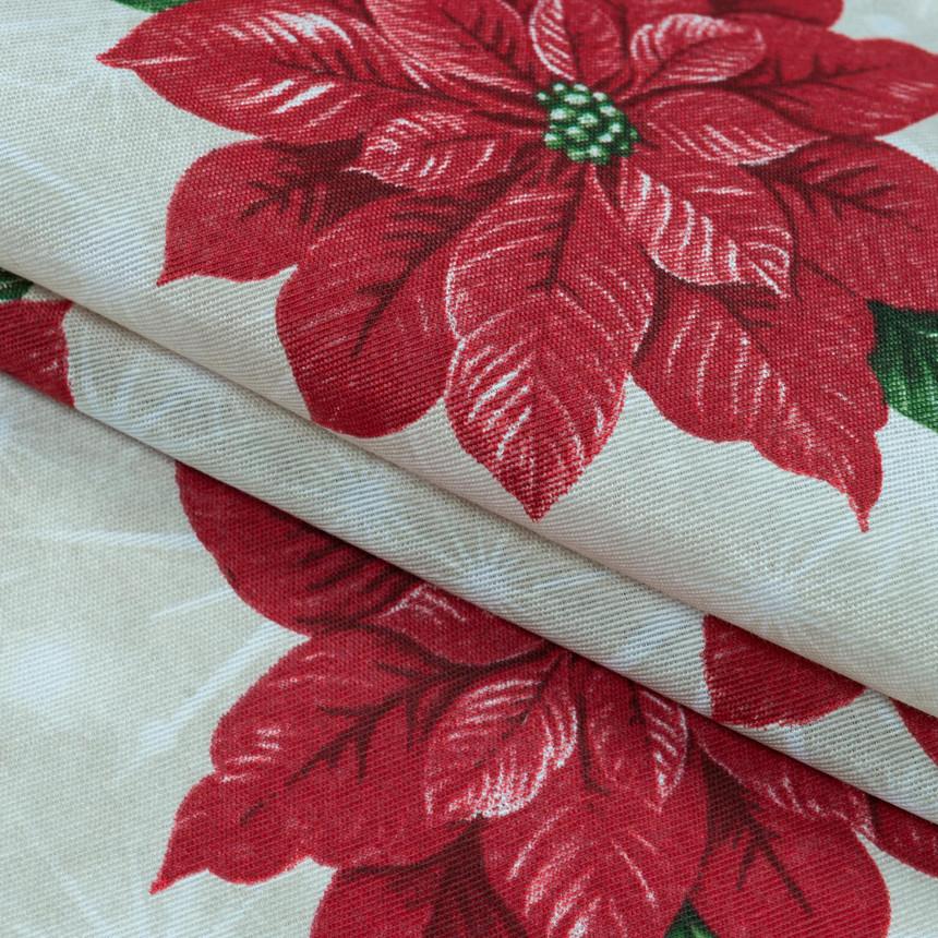 Декоративная новогодняя ткань Пуансетия