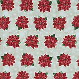 Декоративная новогодняя ткань Пуансетия, фото 3
