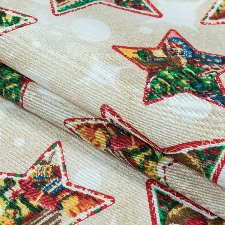 Декоративная новогодняя ткань Звезды