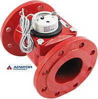 Водосчетчик Apator PoWoGaz MWN-130-100-NK (ГВ) с импульсным выходом турбинный Ду-100 сухоход промышленный