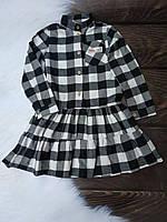 Платье подростковое Клеточка на пуговках для девочки 9-13 лет,белое с черным