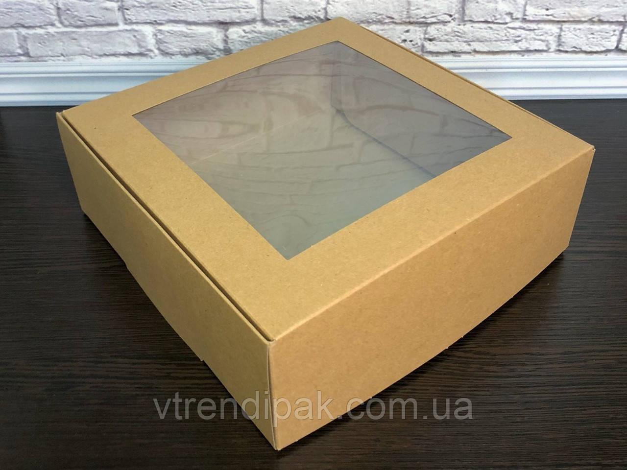 Коробка для десертів з вікном 200*200*70 КРАФТ