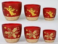 Набор керамических вазонов для цветов, 3 шт.