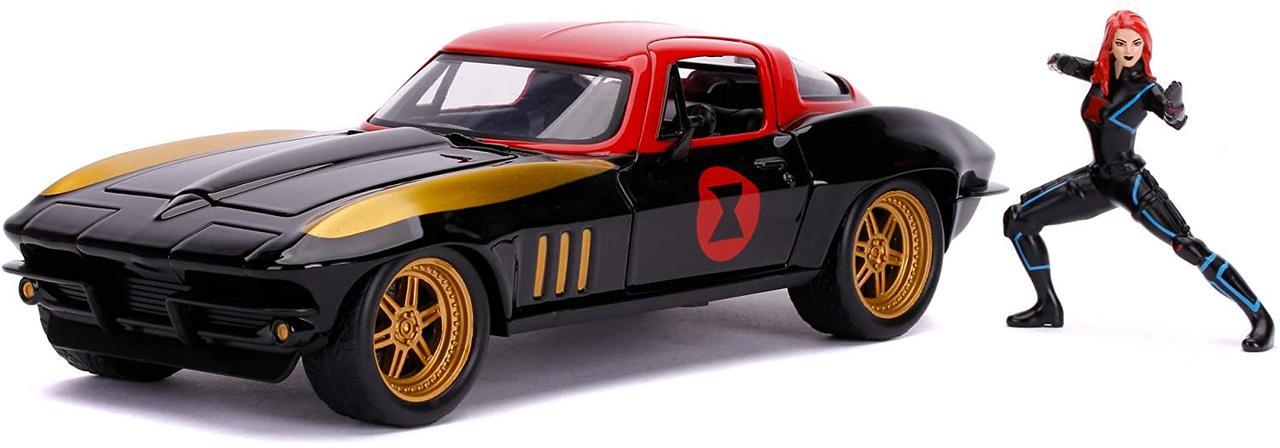 Машина металлическая Jada Марвел. Мстители Шевроле Корвет 1966 с фигуркой Черной вдовы Jada 253225014
