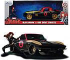 Машина металлическая Jada Марвел. Мстители Шевроле Корвет 1966 с фигуркой Черной вдовы Jada 253225014, фото 7