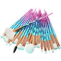 Набор кистей для макияжа 20 шт кристалл (сине-розовые). Топовые кисти для макияжа