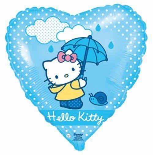 """Кулька 18"""" серце фольгована блакитна """"Хеллоу Кітті"""" ТМ """"Flexmetal"""" малюнок шт."""