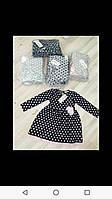 Плаття для дівчинки на 3-7 років бежевого, сірого, синього кольору в горох оптом