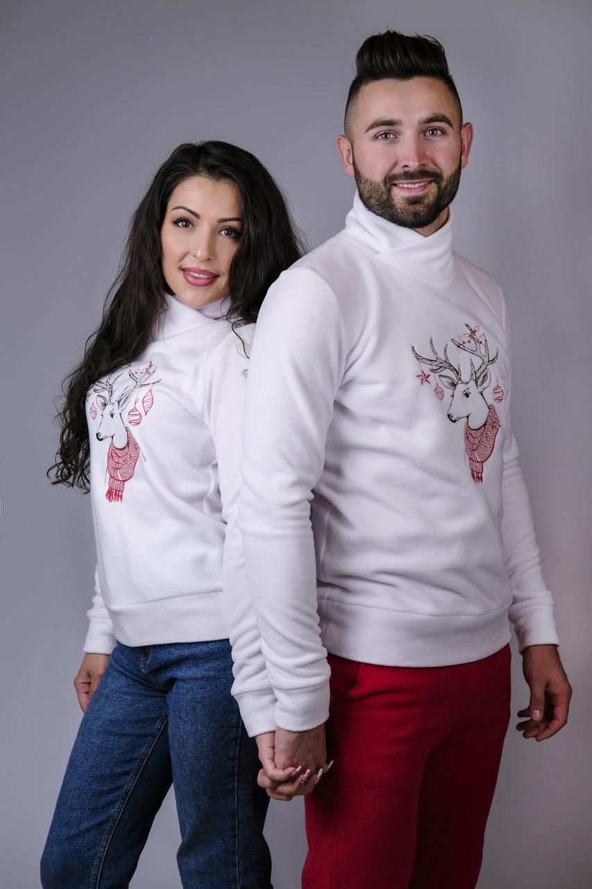 Парные свитера Олень белые