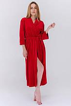 Домашний плюшевый халат длинный с поясом цвет красный