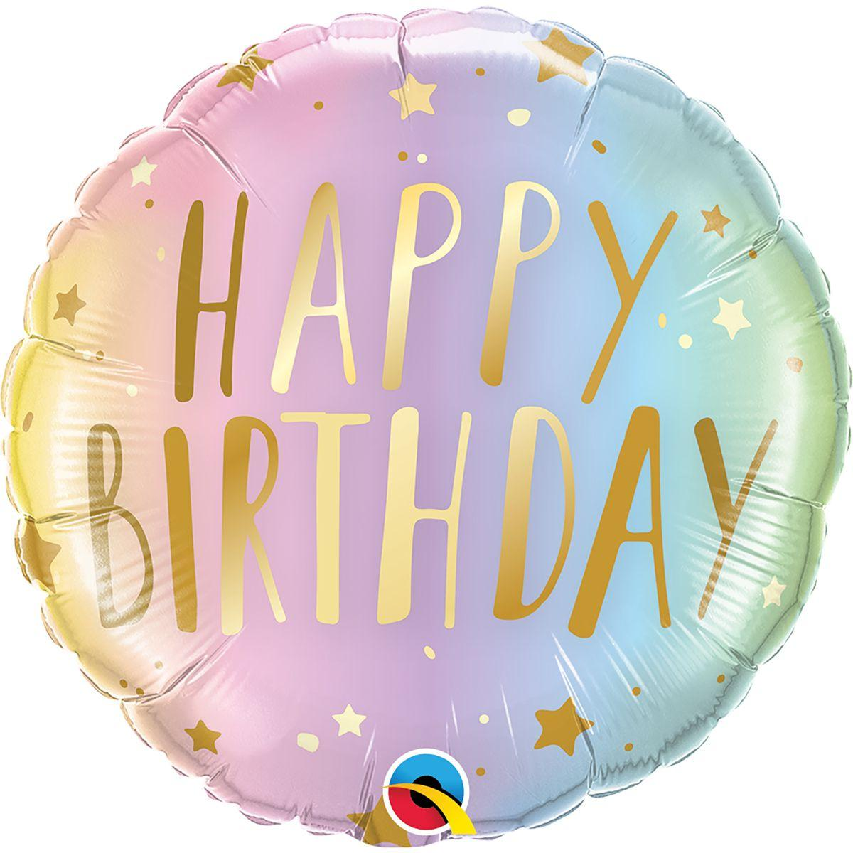 "Кулька 18"" круг фольгована, омбре ""Happy Birthday"" малюнок УП шт."