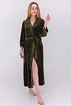 Халат длинный с рукавом 3/4 велюровый цвет хаки для дома