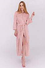Плюшевый длинный  халат домашний цвет пудра