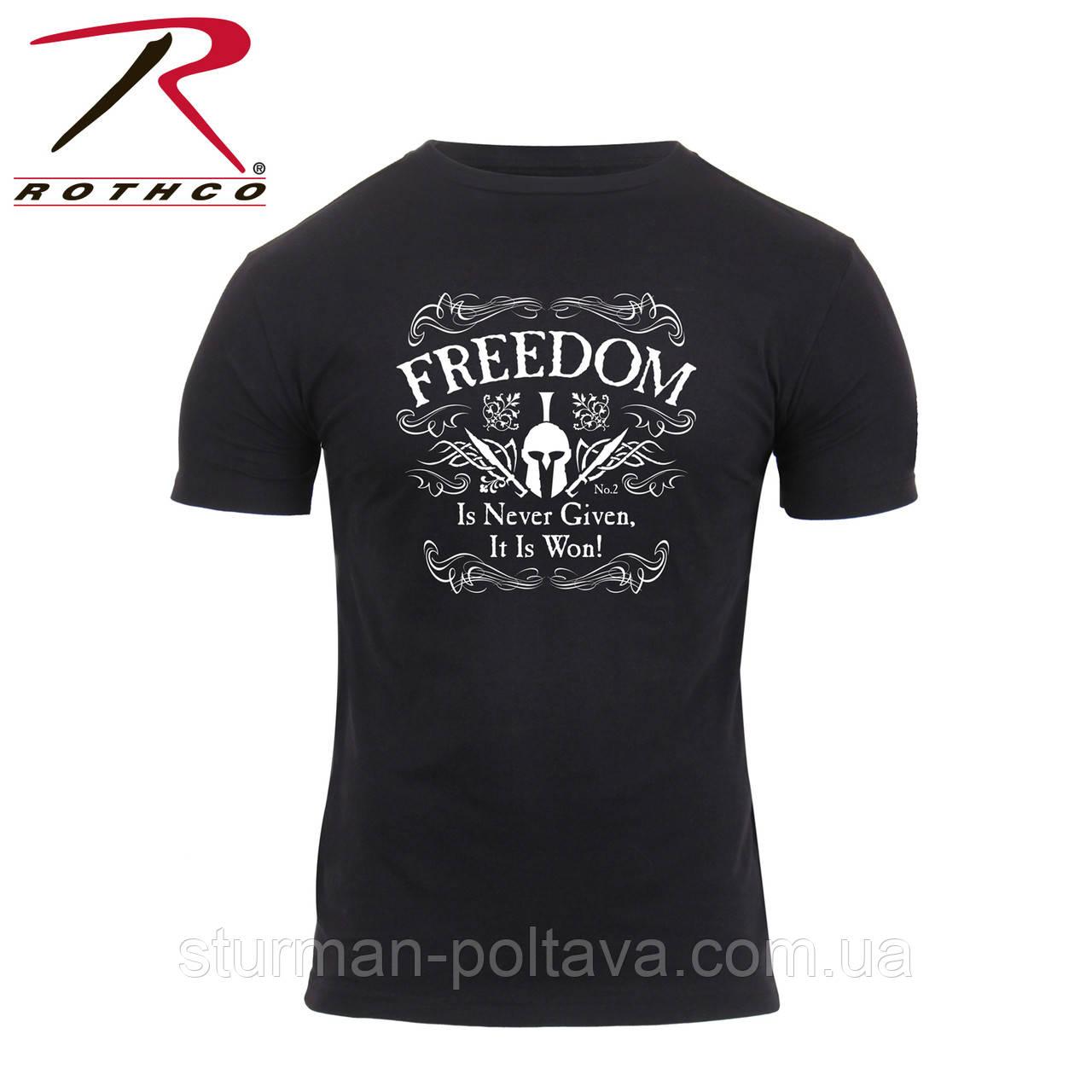 Футболка мужская  - Свобода никогда не дается, всегда завоевывается  Athletic Fit Freedom T-Shirt   Rothco