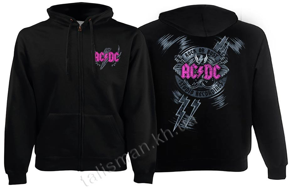 Толстовка AC DC Rock Or Bust -2 (винил) на молнии