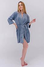 Халат женский плюшевый с поясом на запах цвет голубой