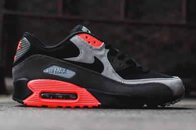 """Кроссовки Nike Air Max 90 Premium """"Black/Medium Ash/Total Crimson"""""""