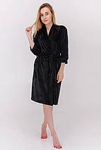 Короткий велюровый халат для дома цвет черный