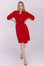 Домашний плюшевый халат короткий на запах цвет красный