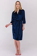 Халат женский из ткани велюр плюш цвет синий с поясом
