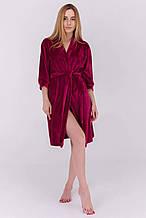 Плюшевый женский халат для дома короткий цвет вишневый