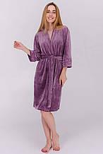 Домашний плюшевый халат длина по колено цвет лавандовый
