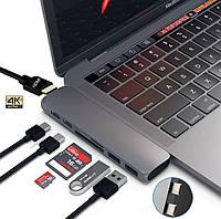 Універсальний адаптер для Macbook Mosible USB Type C to Thunderbolt 3 + USB 3.1 + HDMI + Card Reader (GREY), фото 1