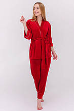 Домашний костюм из плюшевой ткани (Укороченный халатик + штаны)
