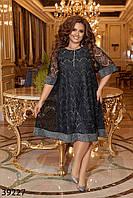 Нарядное гипюровое платье свободного кроя с люрексом с 50 по 60 размер, фото 1
